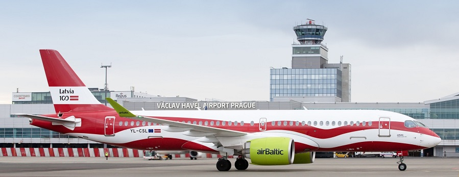 prague_airport_airbaltic_a220_latvia_livery_1